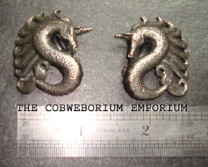 Vintage Unicorn Earrings which inspired the Enchanted Unicorn Focal Pendant.