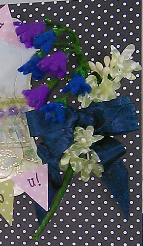 A close up of the felt bluebells.