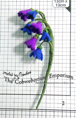 I made some bluebells from felt, wire and florist tape, then set this on one side for later.